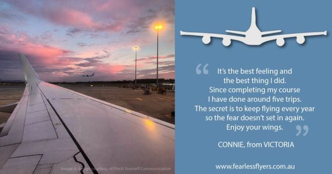 Testimonial from Fearless Flyers client Connie, from Victoria